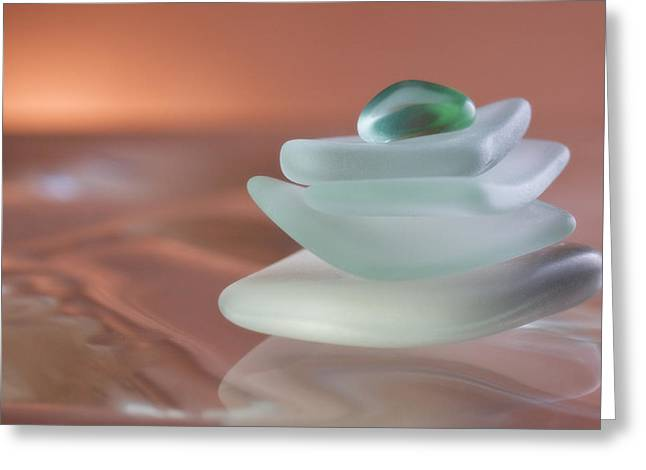Zen Beach Glass Greeting Card by Carol Leigh