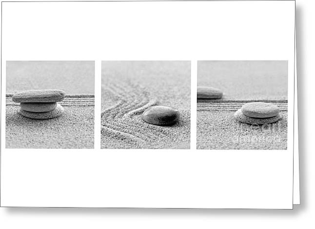 Zen Black And White Triptych Greeting Card