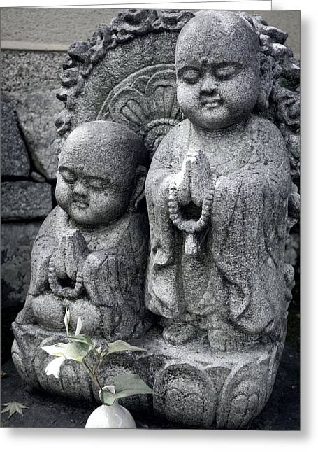Zen Buddhas - Kyoto Greeting Card by Daniel Hagerman