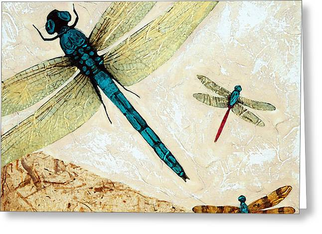 Zen Flight - Dragonfly Art By Sharon Cummings Greeting Card