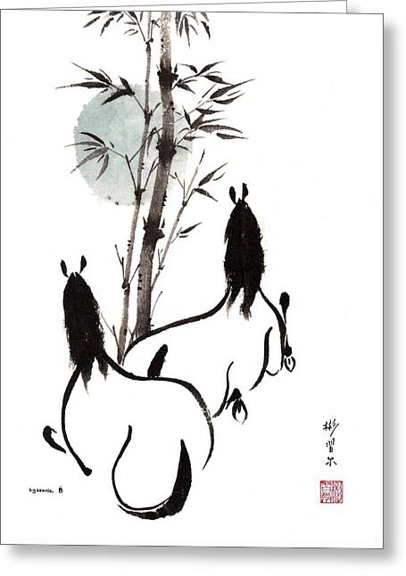 Greeting Card featuring the painting Zen Horses Moon Reverence by Bill Searle