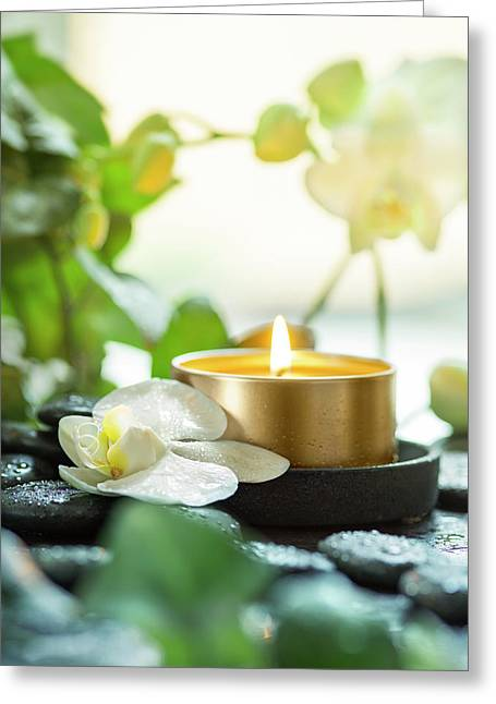 Zen Orchid And Candle Greeting Card