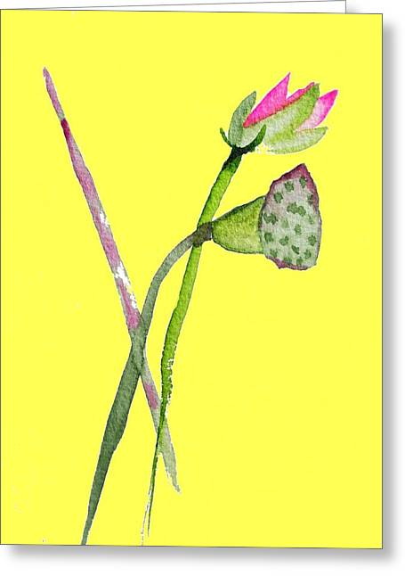 Zen Pink Lotus On Yellow Greeting Card by Sacha Grossel