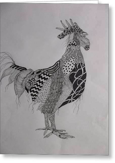 Zen Rooster Left Greeting Card