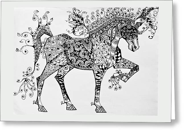 Zentangle Circus Horse Greeting Card