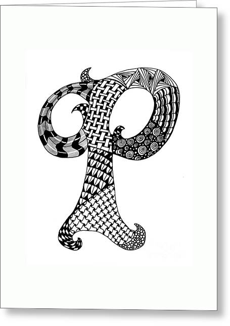 Letter P Monogram In Black And White Greeting Card by Nan Wright
