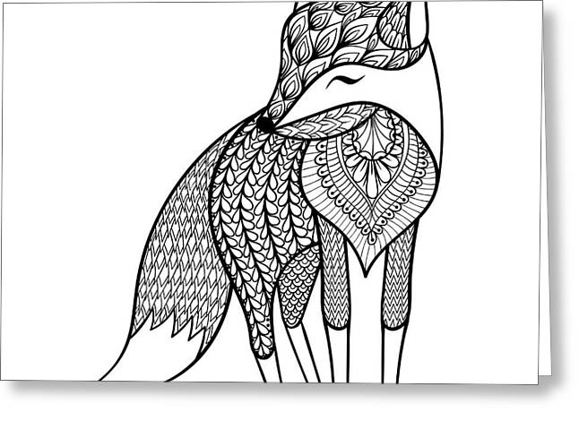 Zentangle Vector Happy Fox For Adult Greeting Card