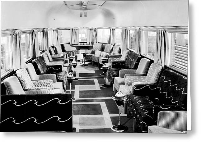 Zephyr Art Deco Lounge Car Greeting Card by Underwood Archives