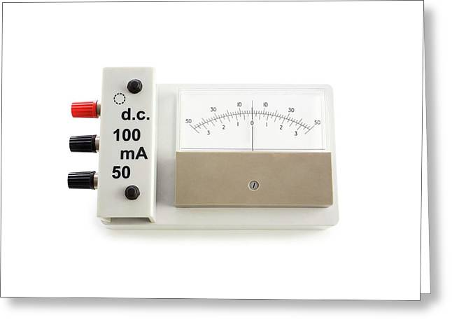 Zero-centre Ammeter Greeting Card by Science Photo Library