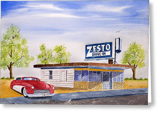 Zesto Drive In Greeting Card