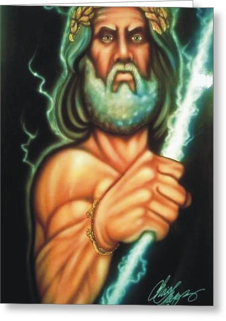 Zeus Greeting Card by Christopher Fresquez