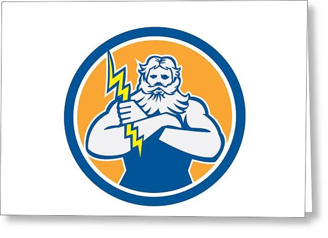 Zeus Greek God Arms Cross Thunderbollt Circle Retro Greeting Card by Aloysius Patrimonio