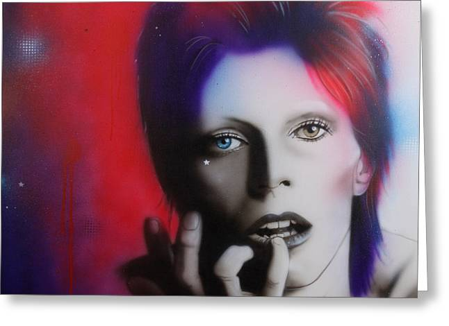 David Bowie - ' Ziggy Stardust ' Greeting Card by Christian Chapman