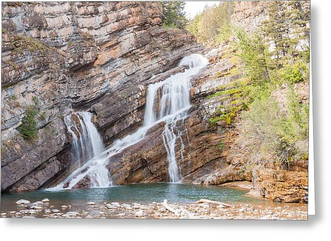 Greeting Card featuring the photograph Zigzag Waterfall by John M Bailey