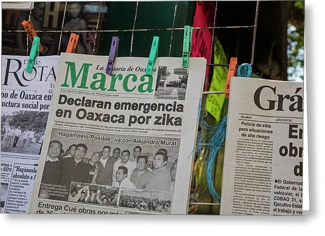 Zika Newspaper Headlines Greeting Card