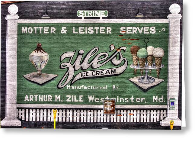 Ziles Ice Cream Mural - Taneytown Carroll County Md Greeting Card