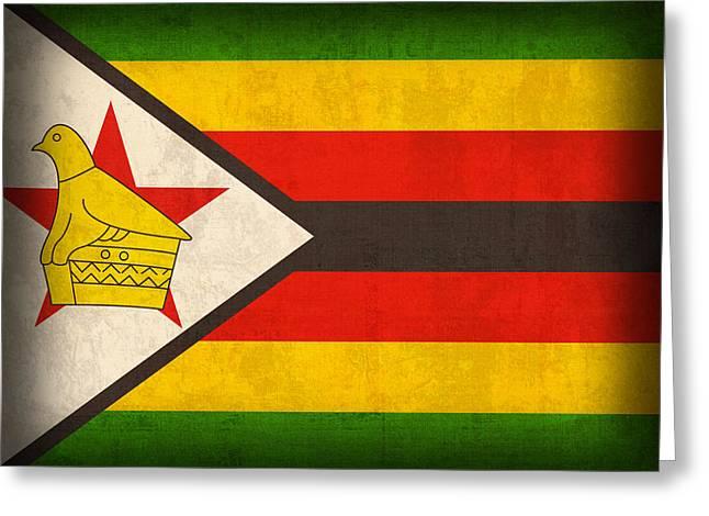 Zimbabwe Flag Distressed Vintage Finish Greeting Card by Design Turnpike