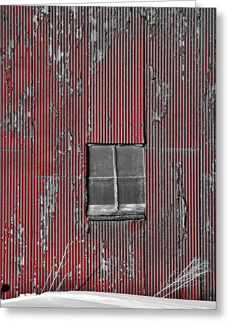 Zink Rd Barn Window Bw Red Greeting Card