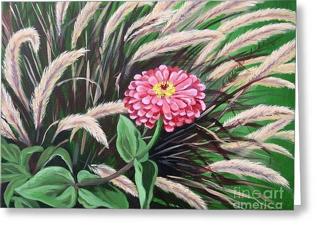 Zinnia Among The Grasses Greeting Card