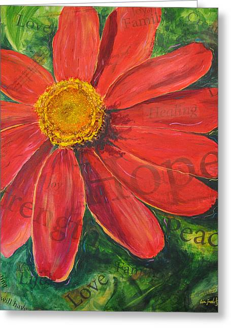 Greeting Card featuring the painting Zinnia Of Hope by Lisa Fiedler Jaworski