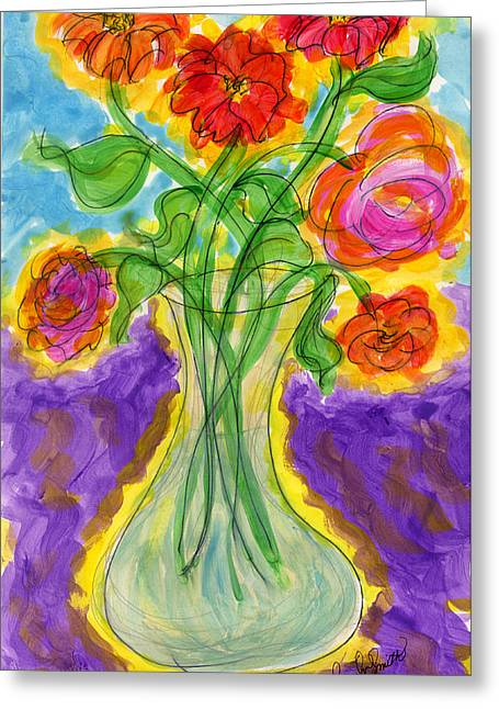 Zinnias And Roses Greeting Card by Tracy W Smith