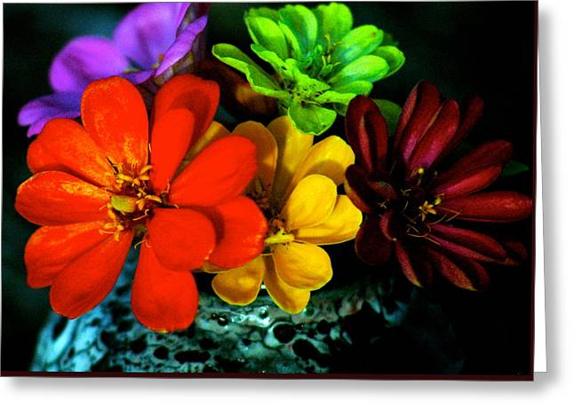Zinnias Greeting Card by Lehua Pekelo-Stearns