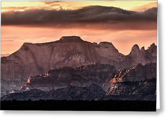 Zion Cliffs Greeting Card by Leland D Howard