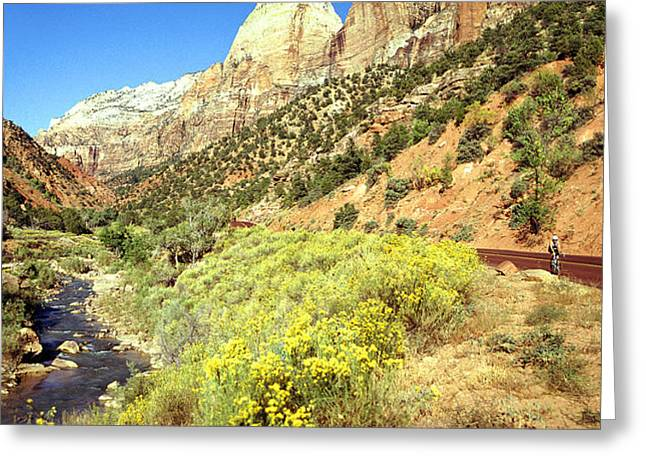 Zion Cyclist Greeting Card