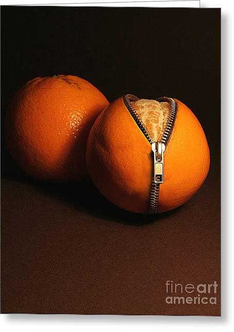 Zipped Oranges Greeting Card by Jaroslaw Blaminsky