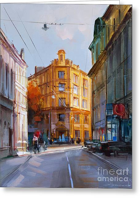 Zlatoustinskiy Alley.  Greeting Card by Alexey Shalaev
