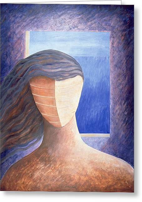 Zoe A La Fenetre, 1994 Oil On Paper Greeting Card