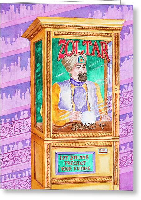Zoltar Speaks Greeting Card by Rhonda Leonard