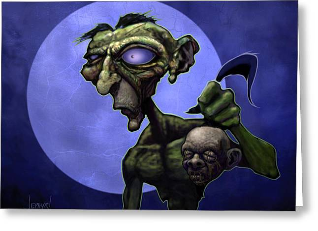 Zombie Head-hunter Greeting Card by Jephyr Art