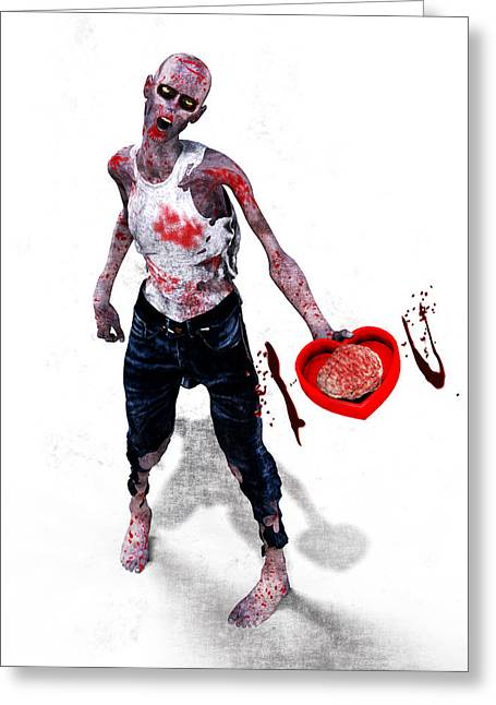 Zombie Love Greeting Card by Frederico Borges