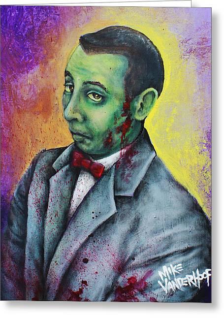 Zombie Pee Wee Greeting Card by Mike Vanderhoof