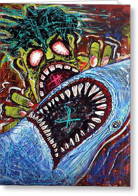 Zombie Shark Fight Greeting Card by Laura Barbosa