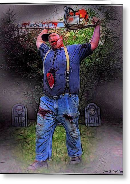 Zombie With Chainsaw  Greeting Card by Jon Volden