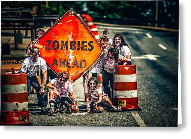 Greeting Card featuring the photograph Zombies Ahead by Joshua Minso