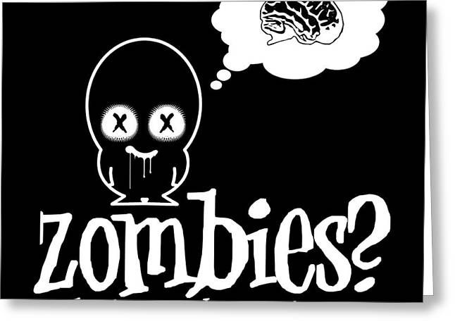 Zombies In Eureka Springs Black And White Greeting Card