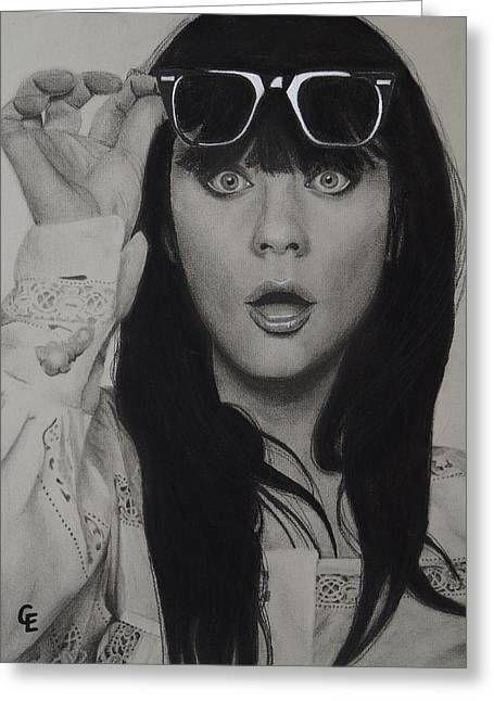 Zooey Deschanel Greeting Card by Chrissy Eckman