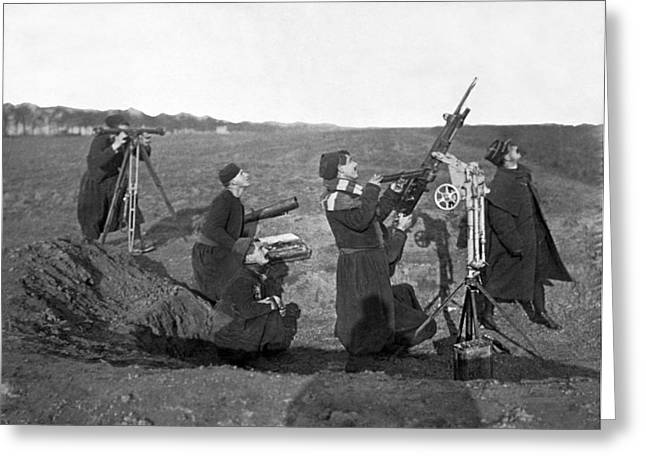 Zouave Anti-aircraft Gun Greeting Card by Underwood Archives