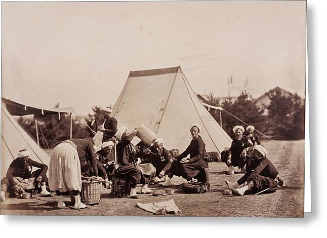 Zouaves Meal Gustave Le Gray, French, 1820 - 1884 Chalons Greeting Card by Litz Collection