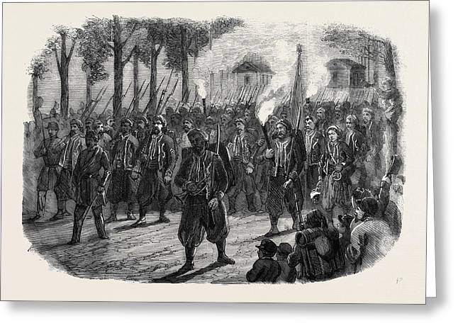 Zouaves Quitting Versailles By Torchlight Greeting Card by English School