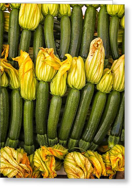 Zucchini Flowers Closeup Greeting Card