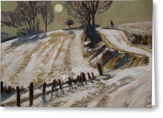 Zuid Limburg First Snow And Full Moon Greeting Card