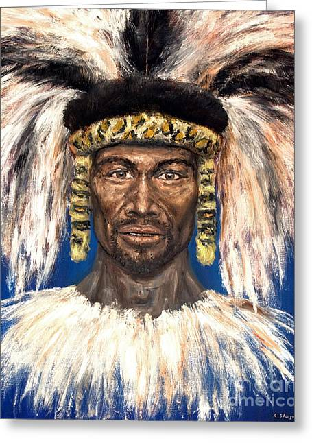 Greeting Card featuring the painting Zulu Warrior by Arturas Slapsys