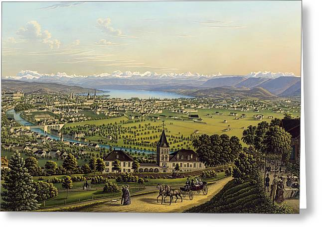 Zurich 1884 Greeting Card by Mountain Dreams