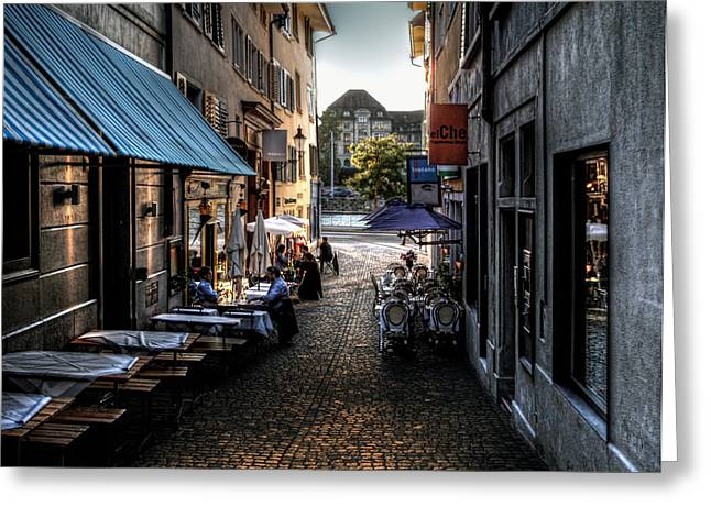 Greeting Card featuring the photograph Zurich Old Town Cafe by Jim Hill