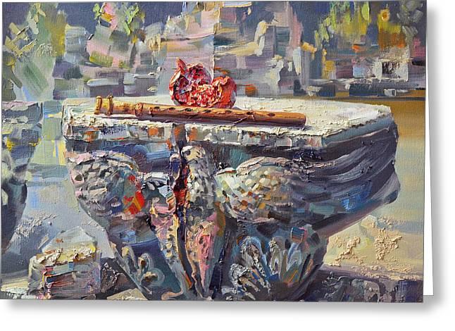 Zvartnots Eagle Duduk And Pomegranate Greeting Card by Meruzhan Khachatryan