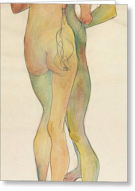 Zwei Stehende Akte Greeting Card by Egon Schiele